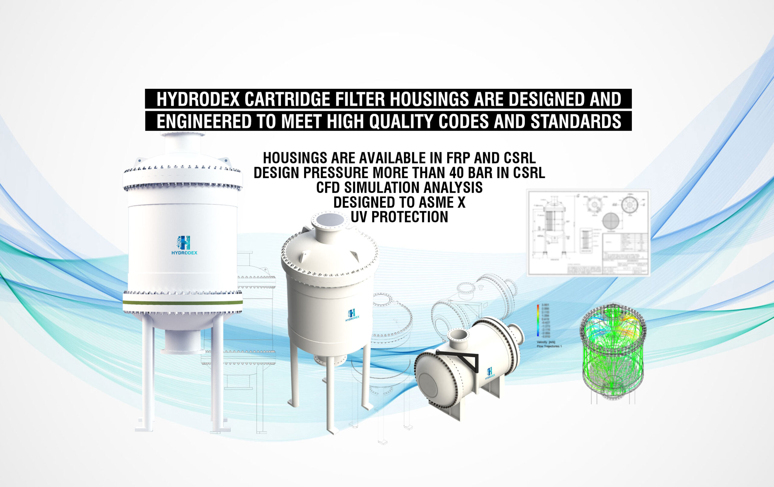 hydrodex frp csrl carbon steel rubber lined cartridge filter housing cfd simulation uv protection high pressure vessel