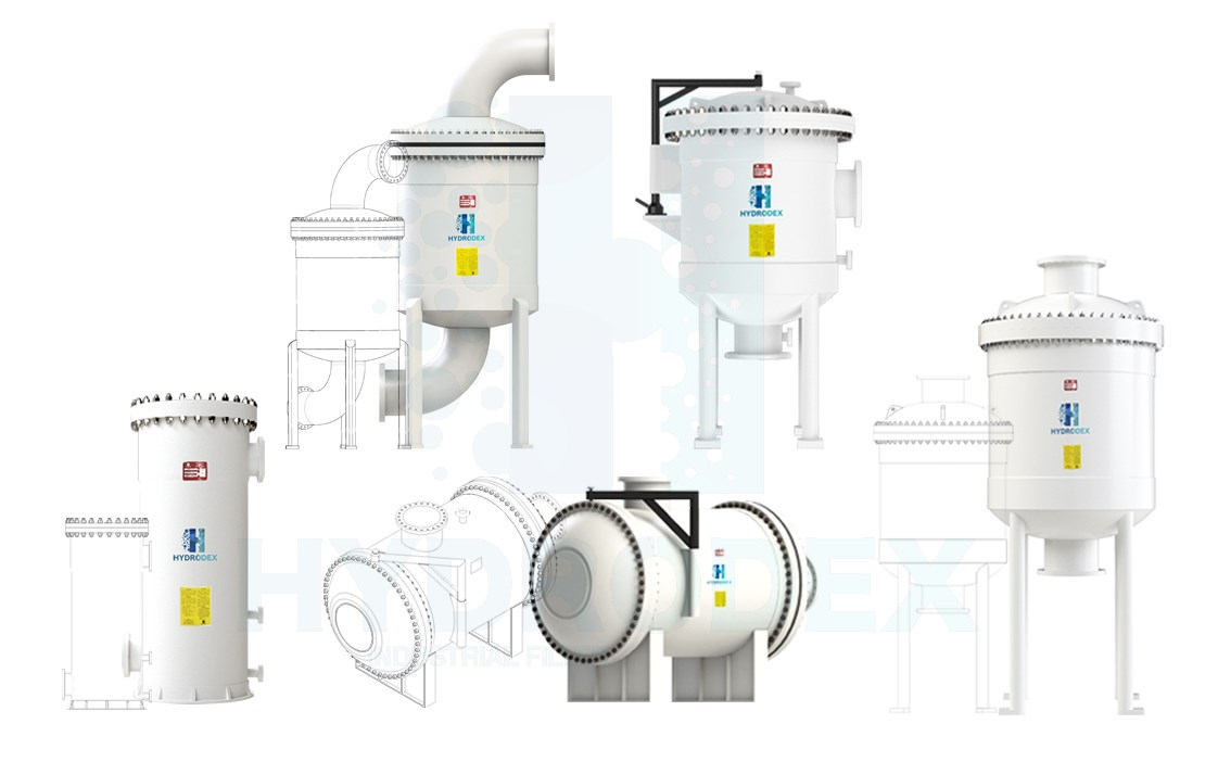 hydrodex FRP cartridge filter housing CAD 2D drawing